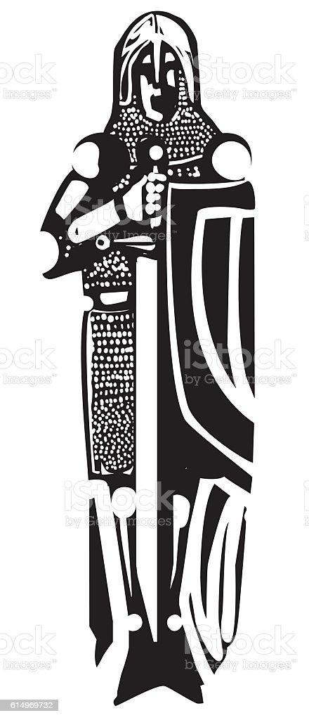 Knight Burial Image vector art illustration