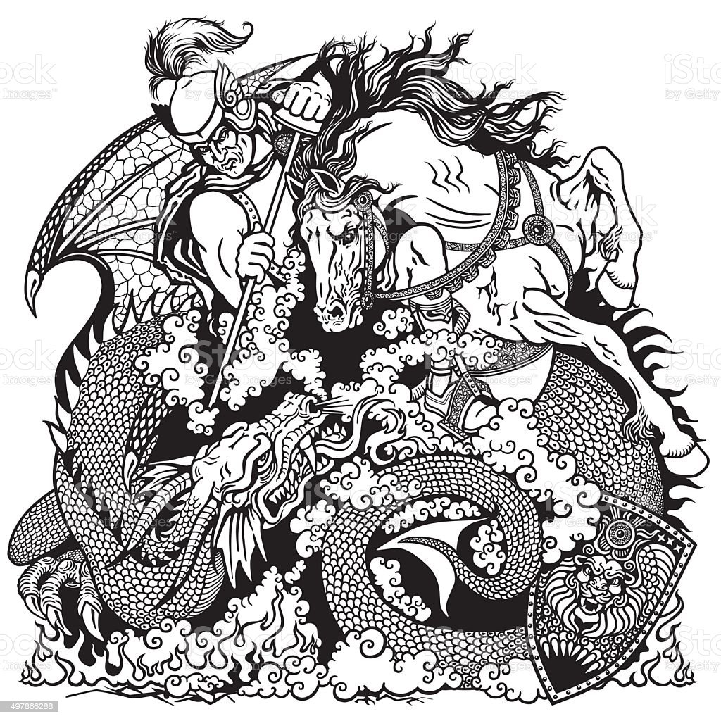 knight fighting a dragon black and white vector art illustration