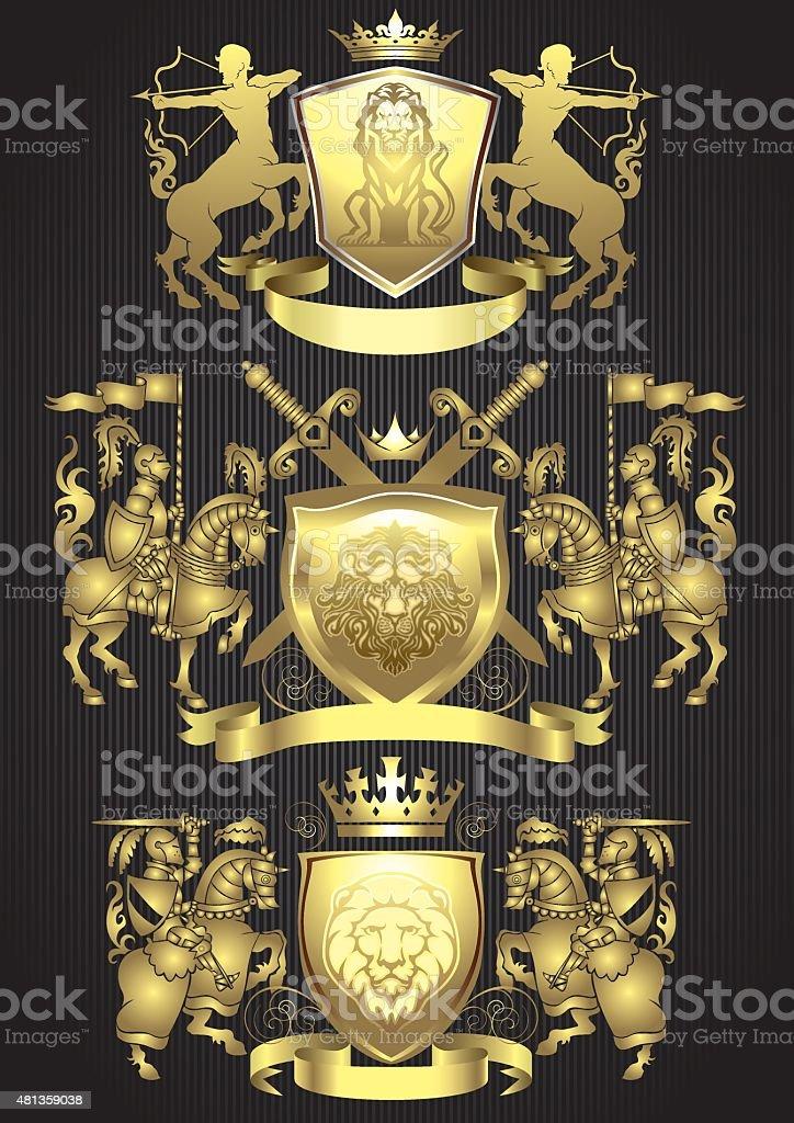 Knight gold heraldic set vector art illustration