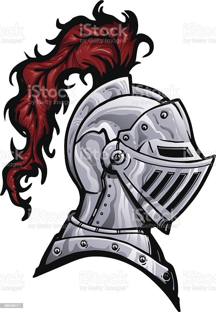 Knight Helmet with Plume royalty-free stock vector art