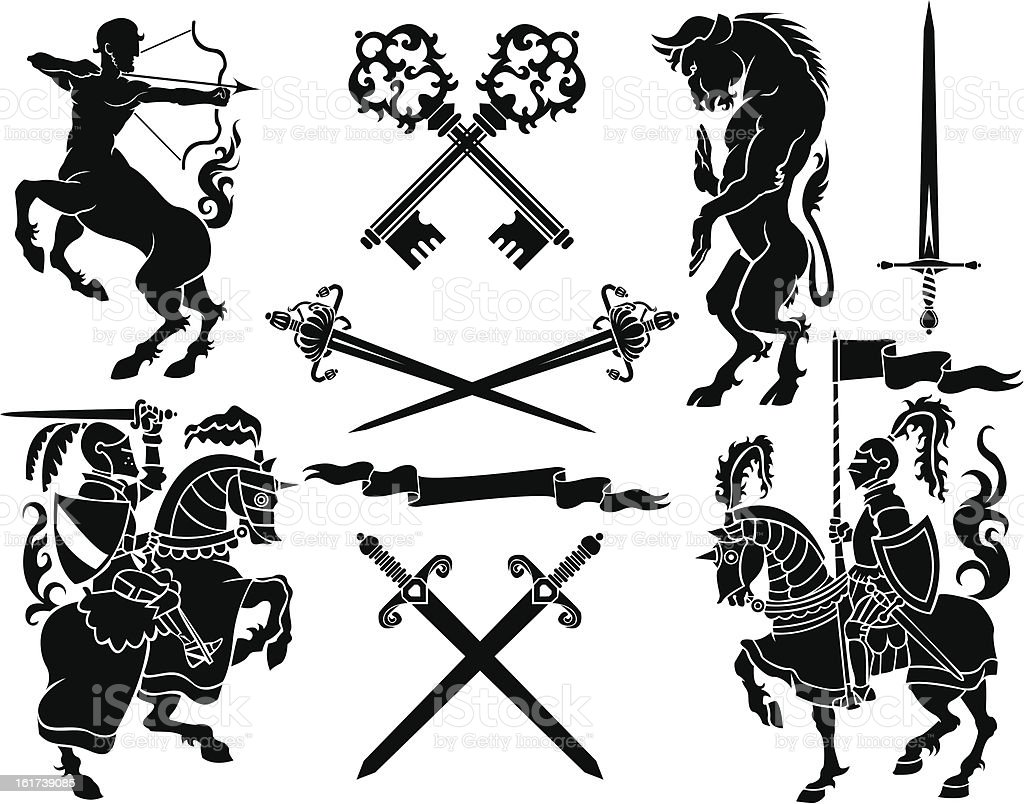 Knight heraldry set vector art illustration