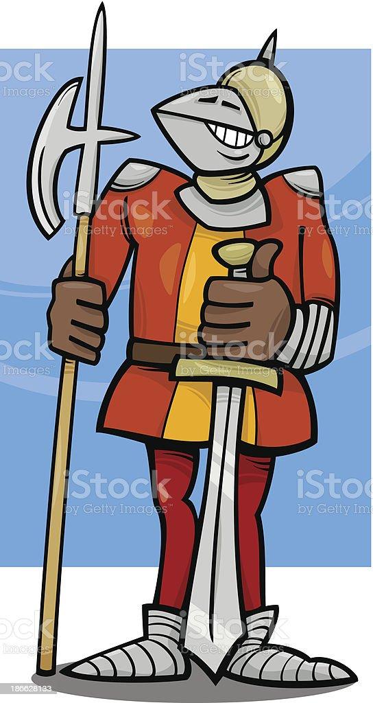 knight in armor cartoon illustration vector art illustration