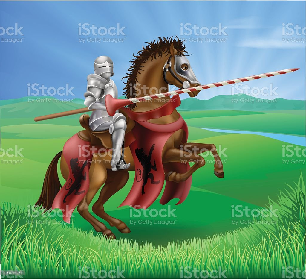 Knight in armor with jousting lance vector art illustration