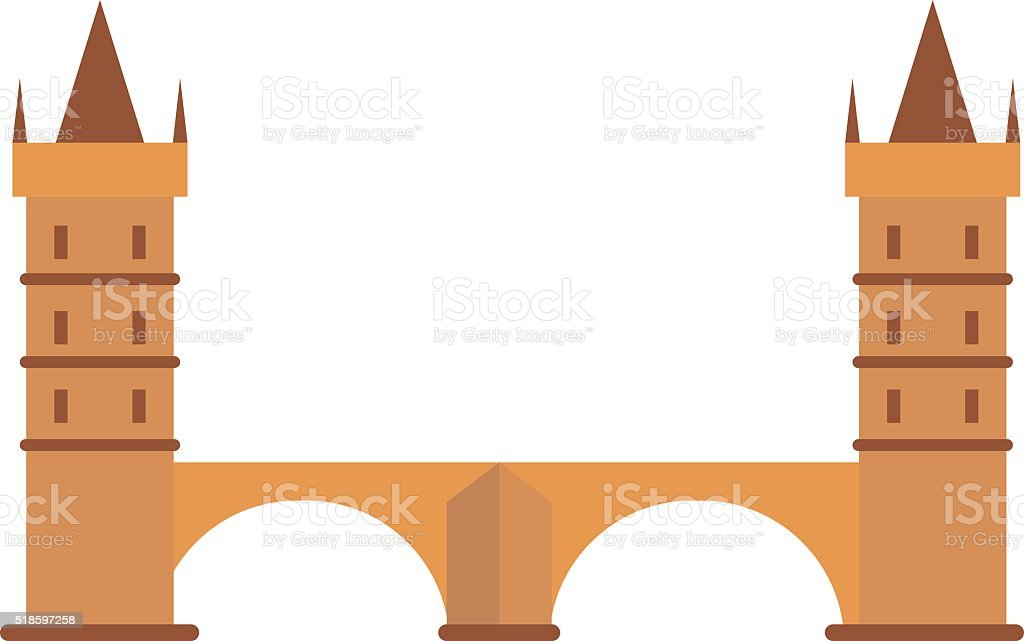 Knight medieval hill town from battlements stone castle vector vector art illustration