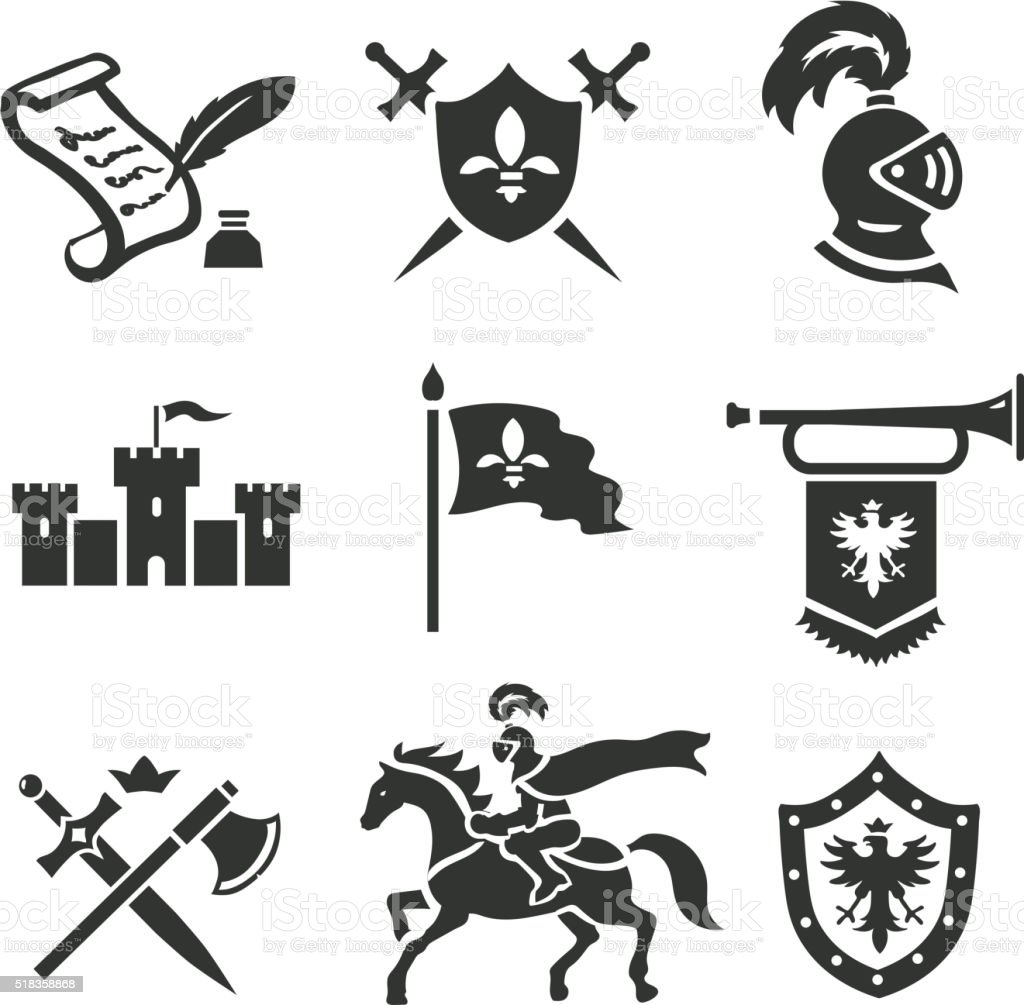Knight medieval history vector icons set. Middle ages warrior weapons. vector art illustration