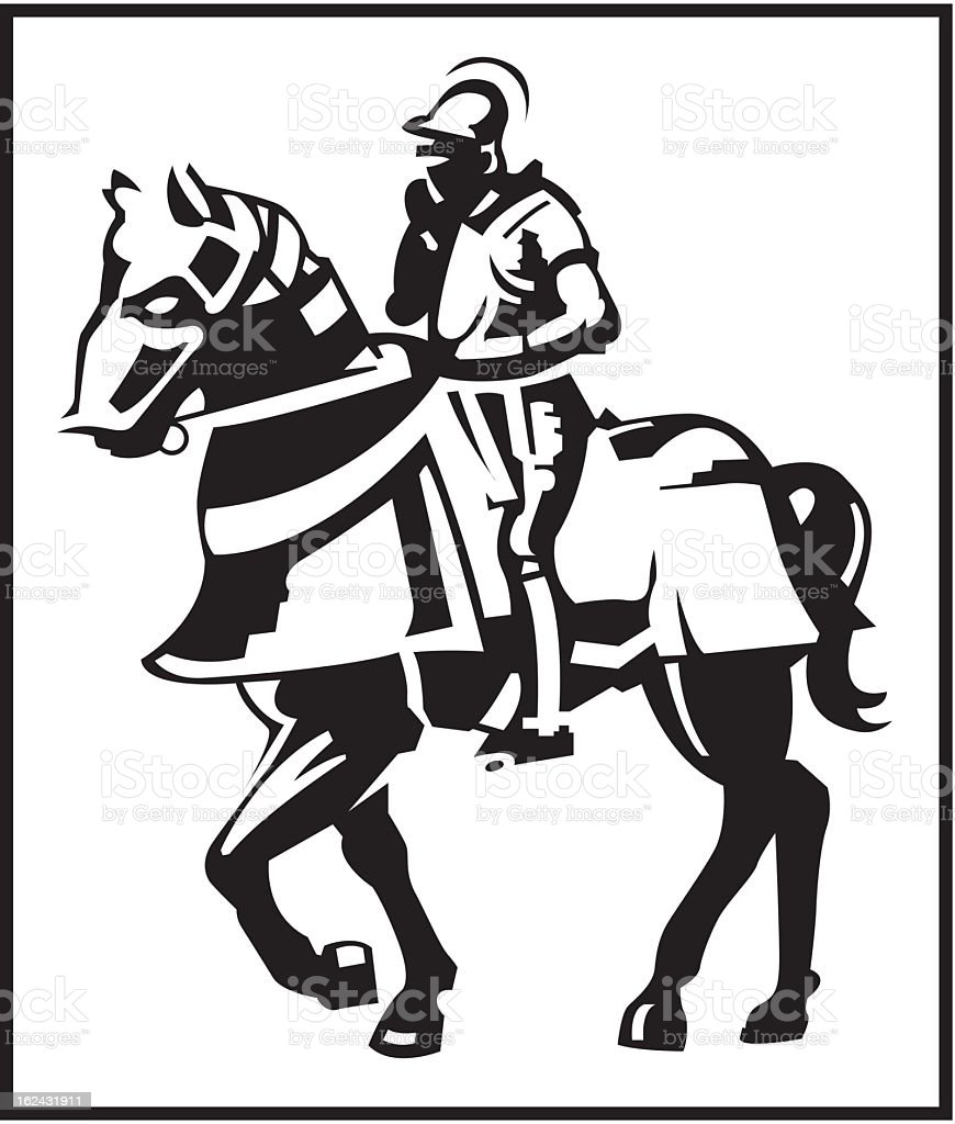 Knight on a Horse royalty-free stock vector art