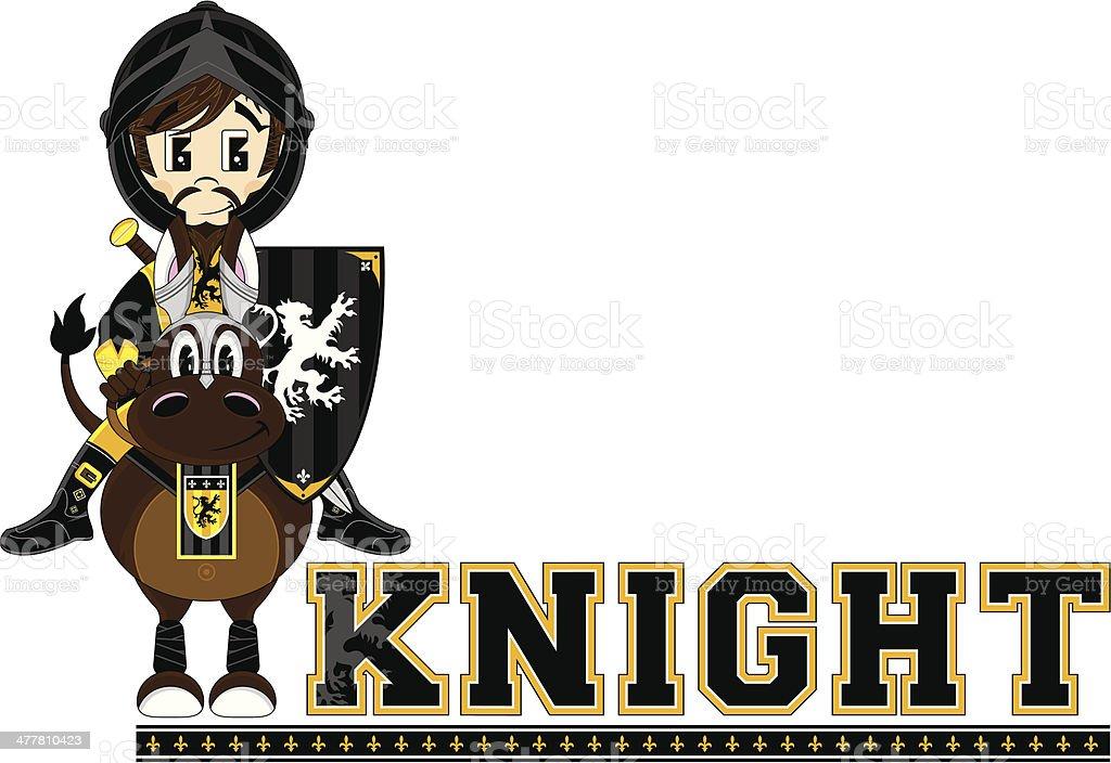 Knight on Horse Learning Letter K vector art illustration