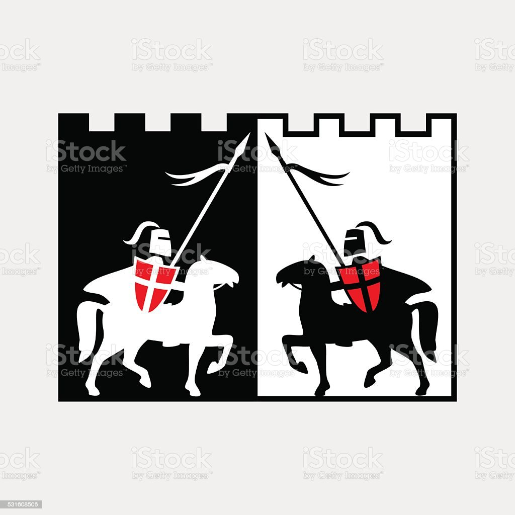 Knight on horse vector art illustration