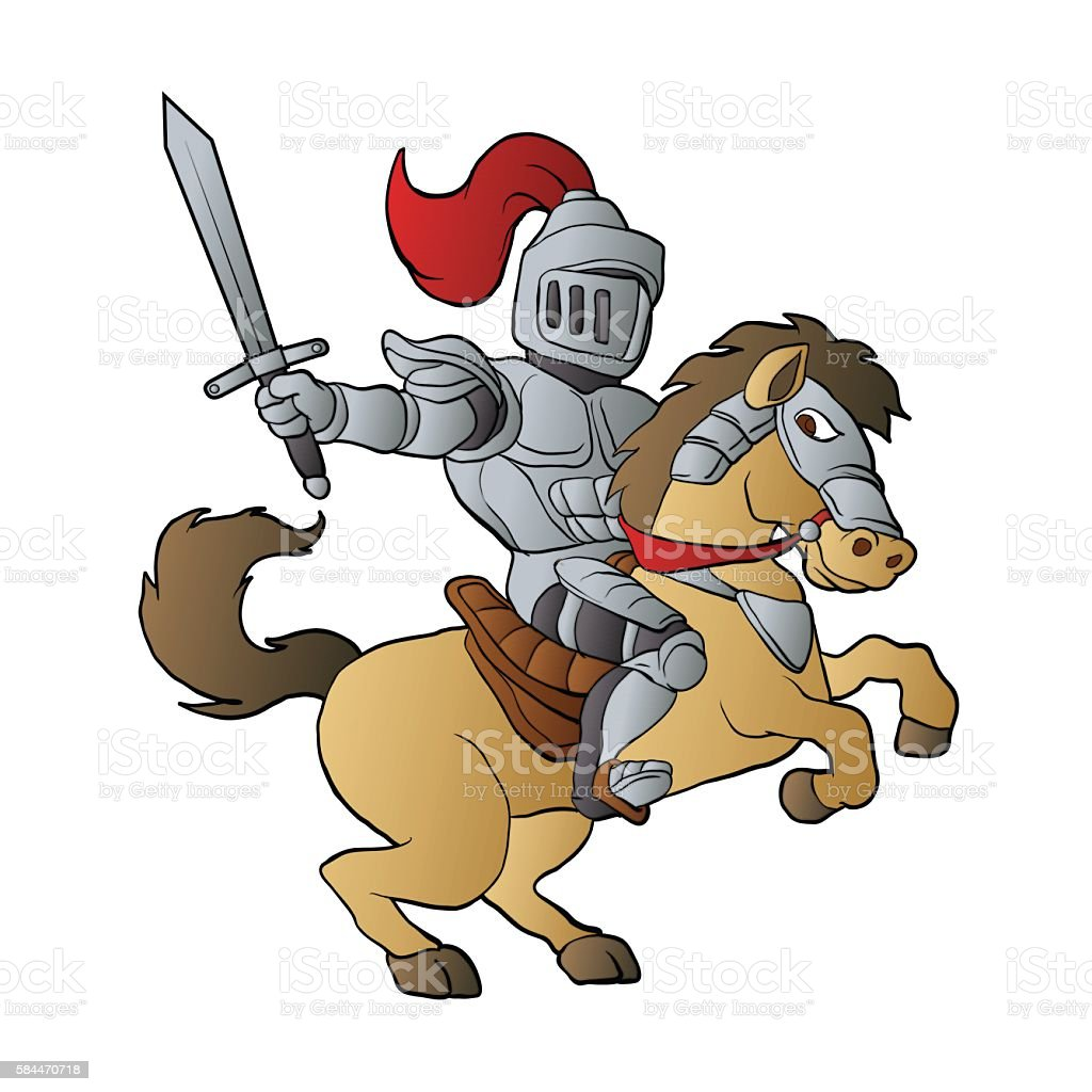 Knight on Horse vector art illustration