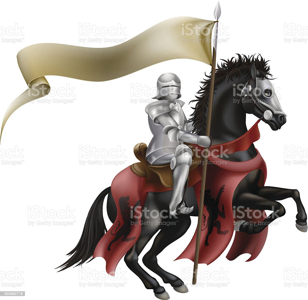 Knight on horse with flag vector art illustration