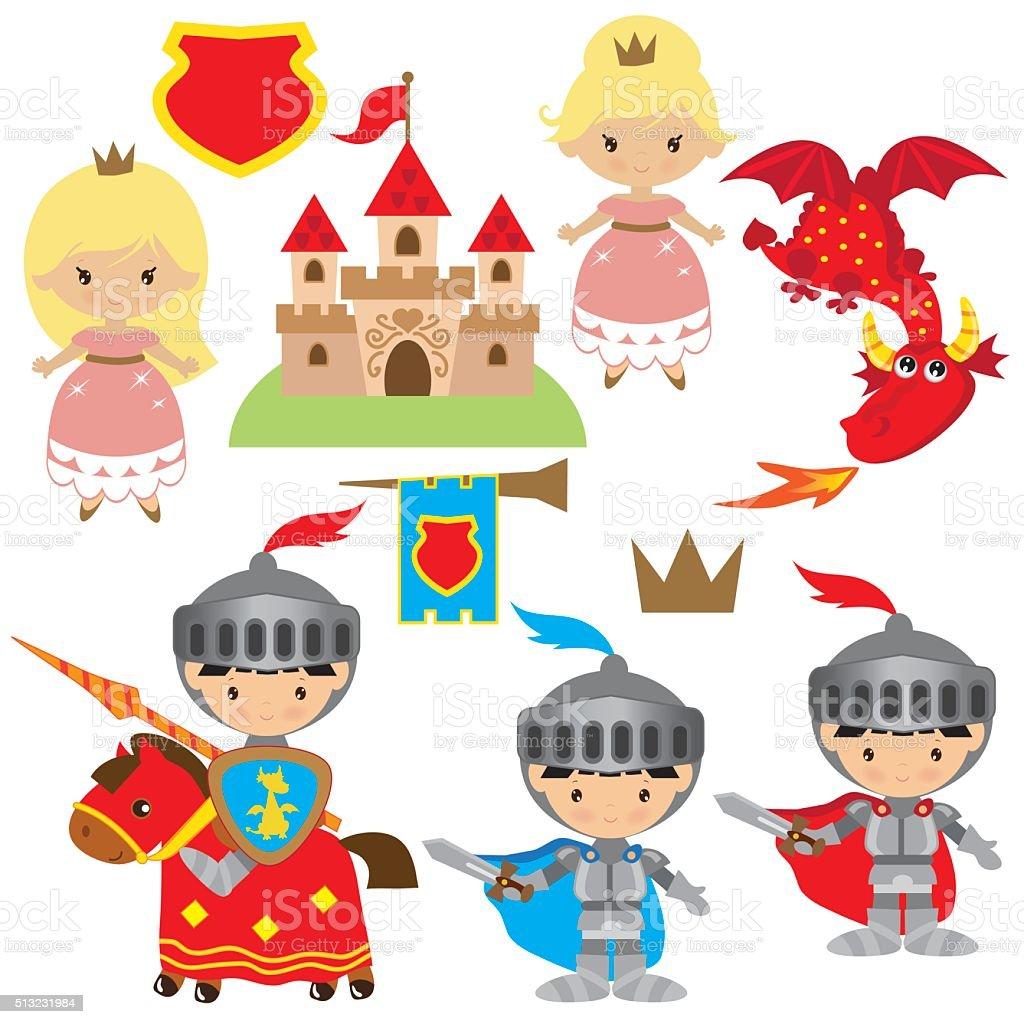 Knight, princess and dragon vector illustration vector art illustration