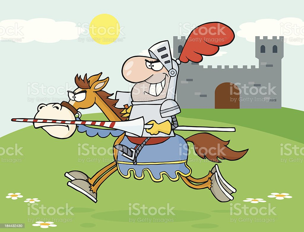 Knight Riding Horse With Background royalty-free stock vector art