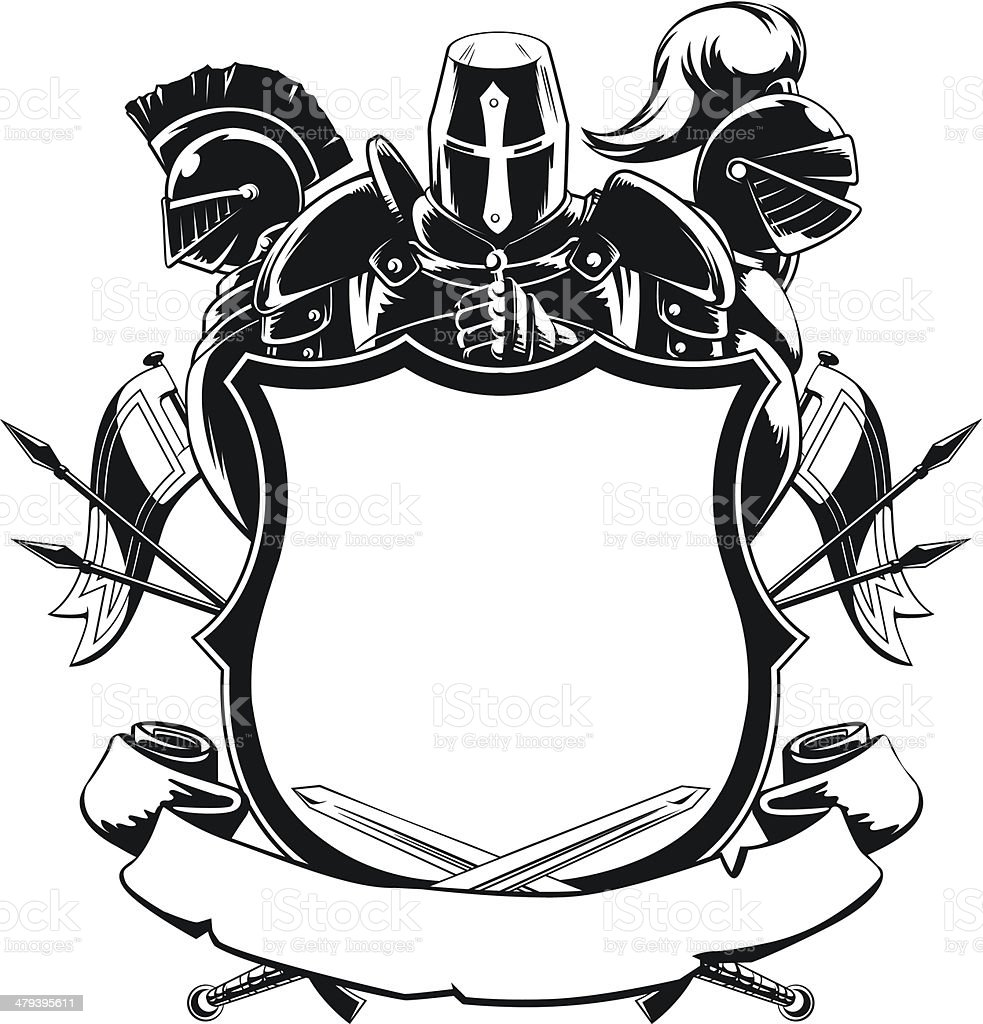 Knight & Shield Silhouette Ornament vector art illustration