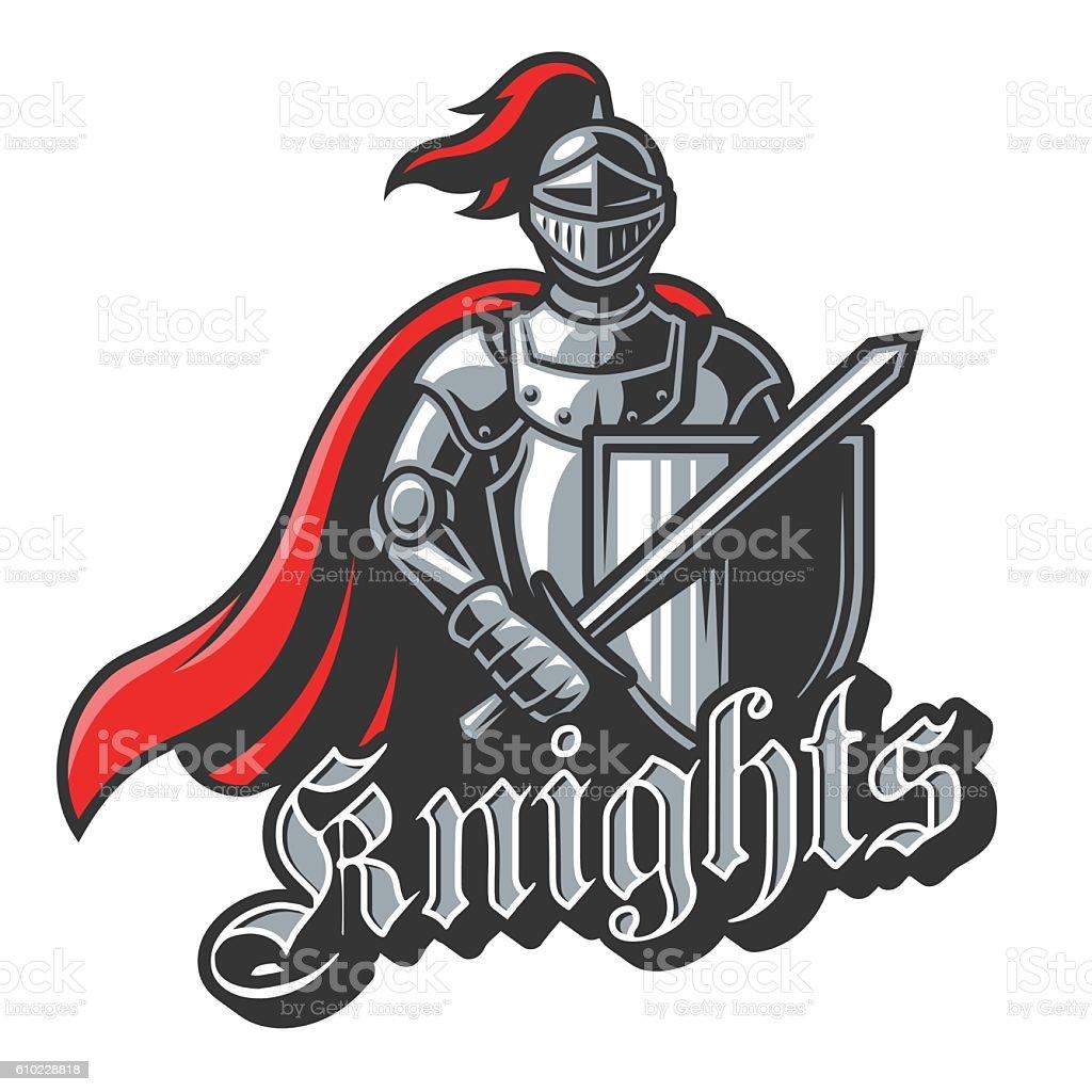 Knight sport logo in color vector art illustration