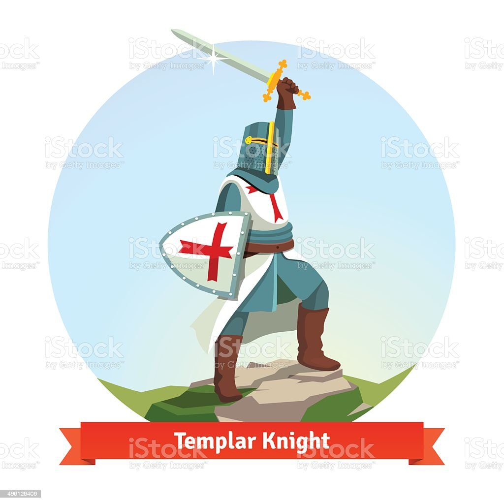 Knight Templar in armour with shield and sword vector art illustration