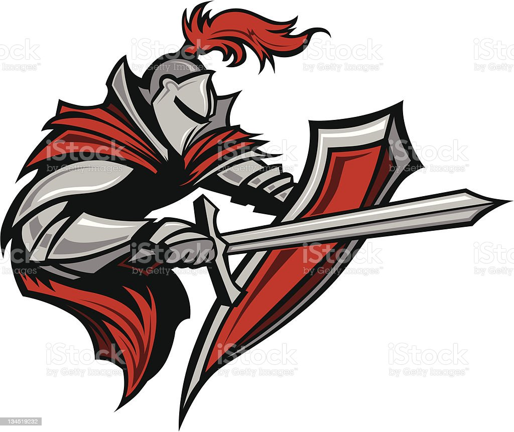 Knight Warrior Mascot Stabbing with Sword and Shield Vector Image vector art illustration