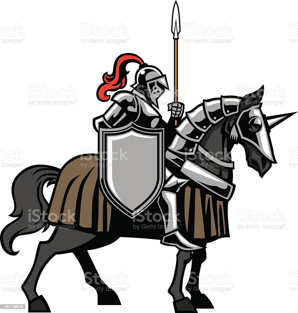 knight with armored horse vector art illustration
