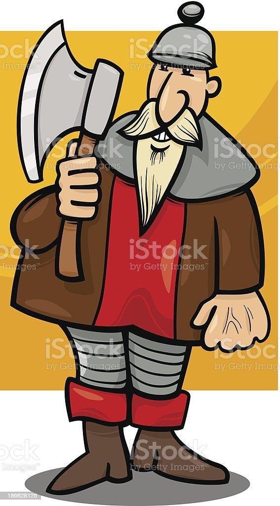 knight with axe cartoon illustration vector art illustration