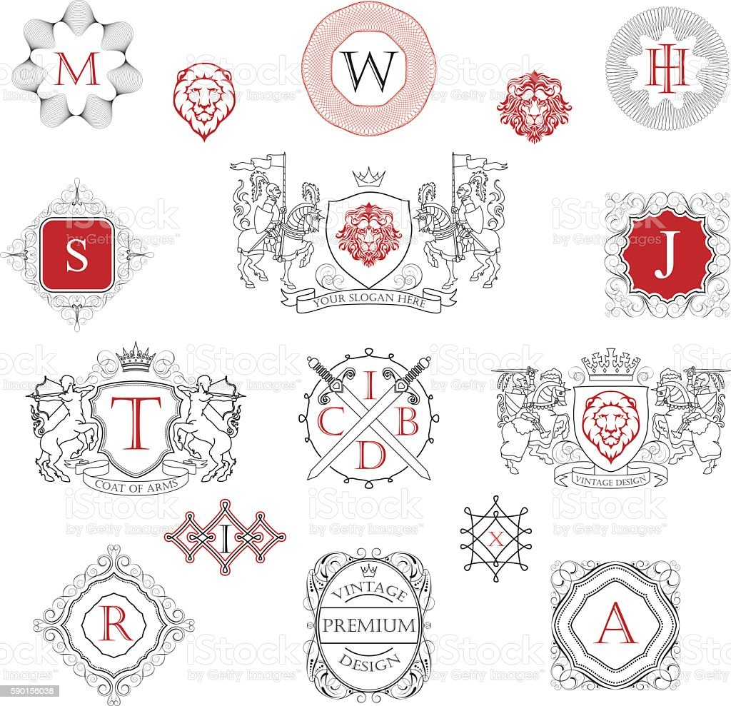 Knights coat of arms collection vector art illustration