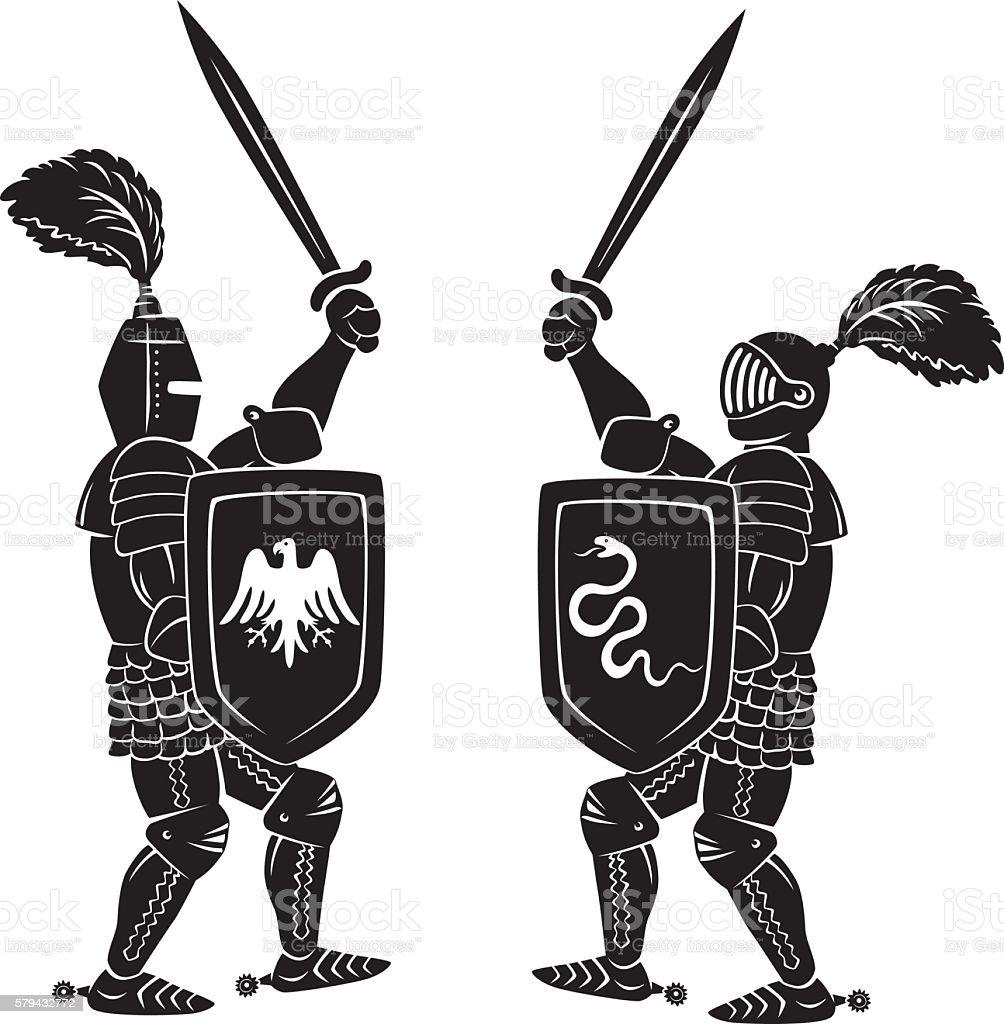 Knights fight vector art illustration