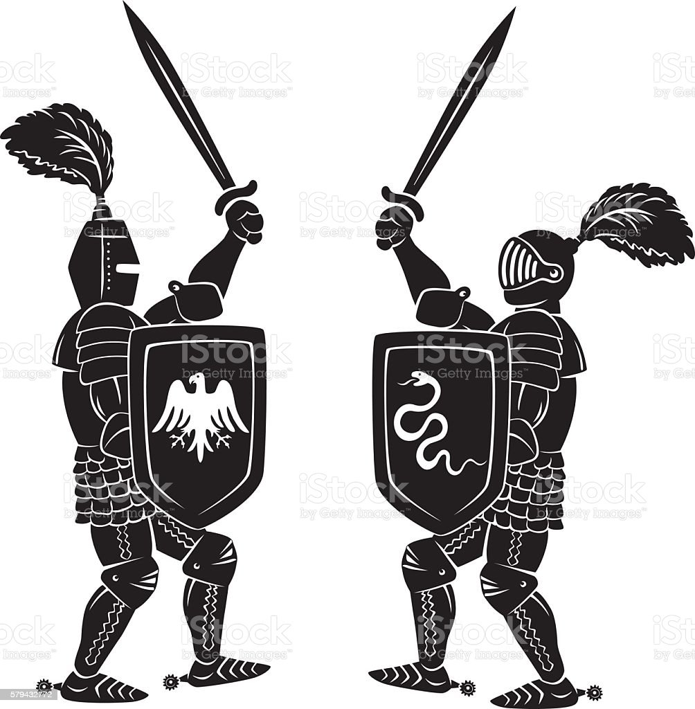 Knights fight vector art illustration