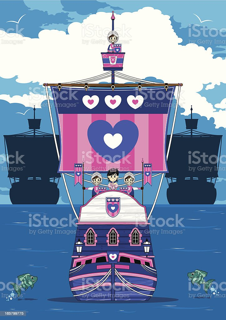 Knights & Princess on Medieval Ship Scene royalty-free stock vector art