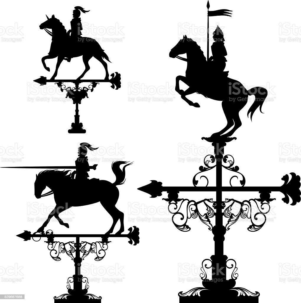 knights weather vane set vector art illustration