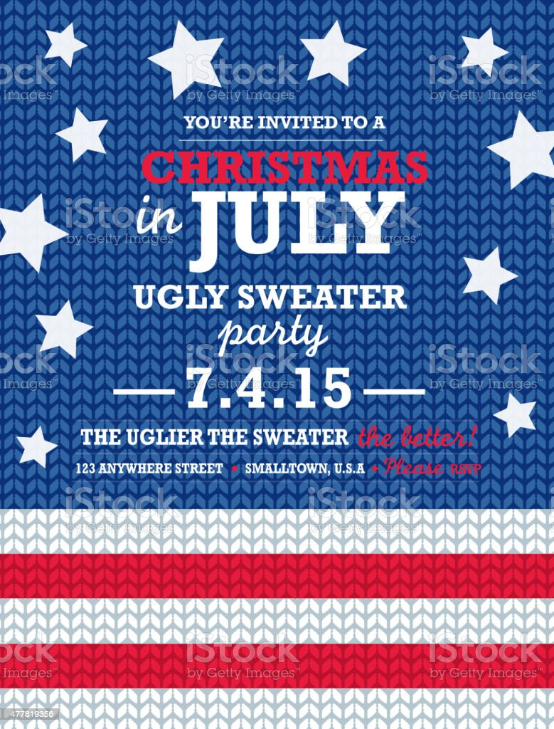 Knit pattern 'Tacky Sweater in July' Holiday party invitation vertical vector art illustration