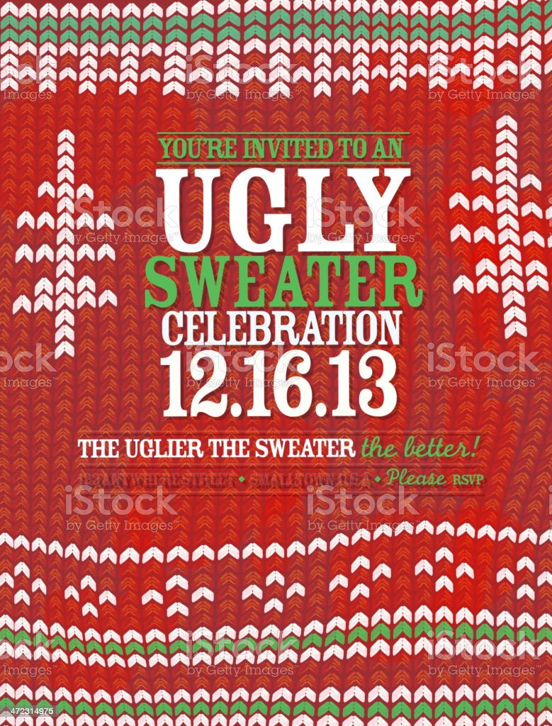 Knit pattern 'Ugly Sweater' Holiday party celebration invitation design template vector art illustration