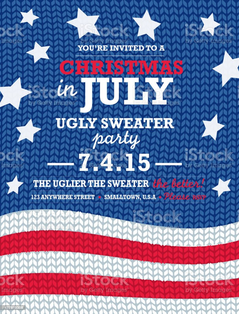 Knit pattern 'Ugly Sweater in July' Holiday party invitation vertical vector art illustration