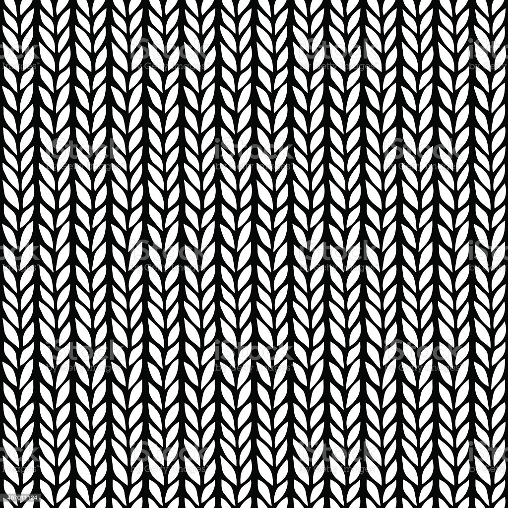 Knitted black and white vintage pattern vector art illustration