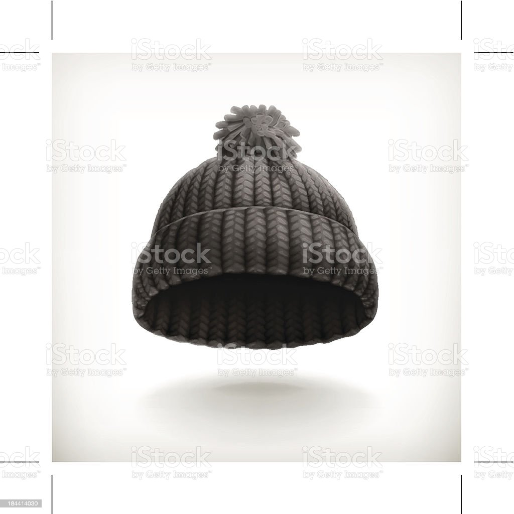 Knitted black cap vector art illustration