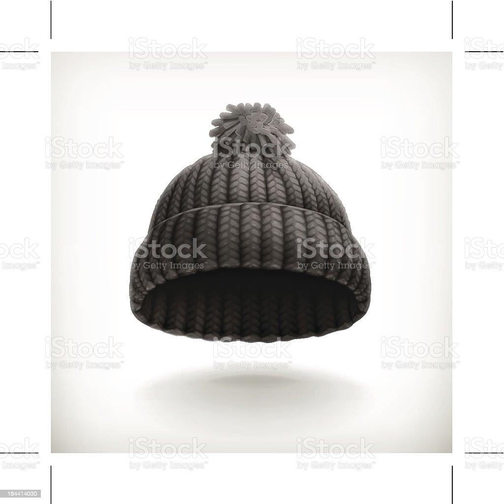 Knitted black cap vector art illustration