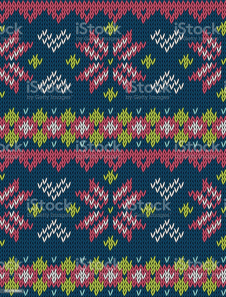 Knitted bright seamless vector pattern with stylized nordic sweater ornament. vector art illustration