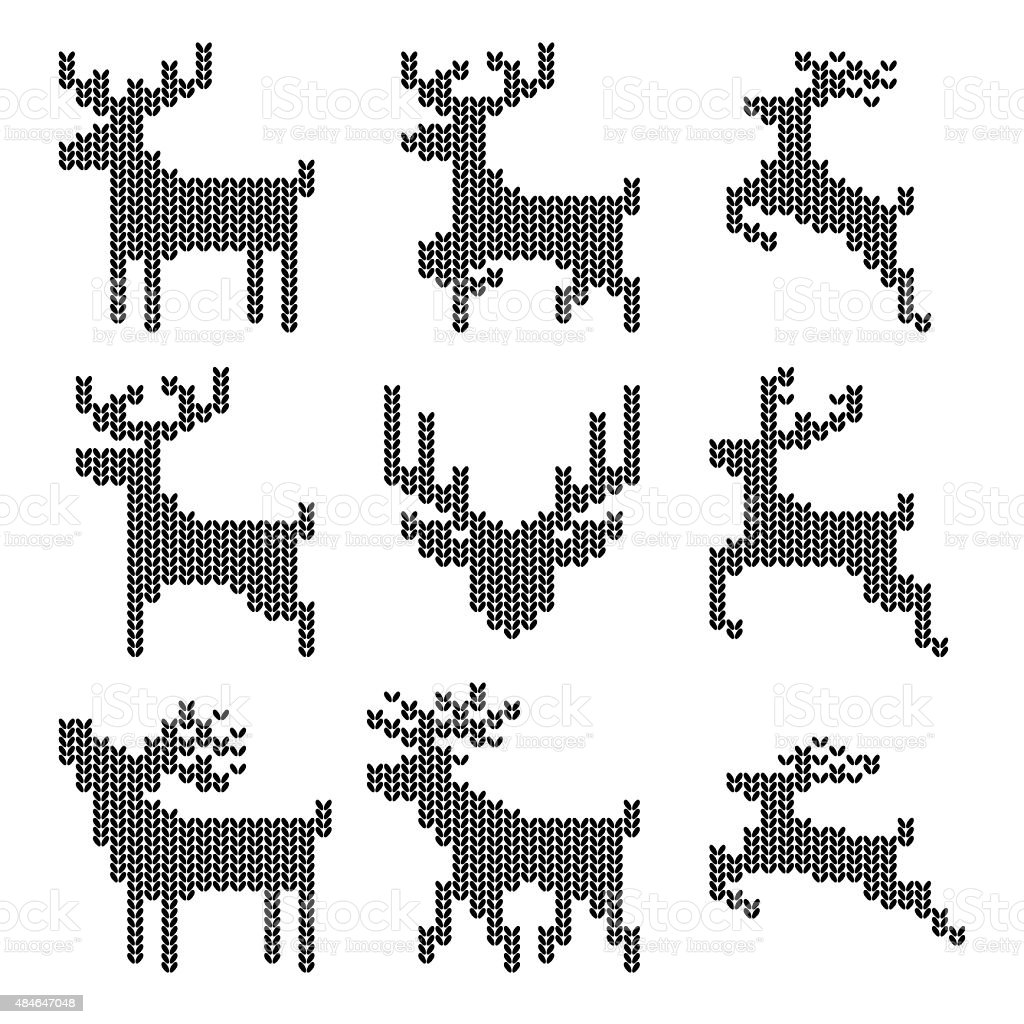 Knitted Christmas Reindeer vector art illustration