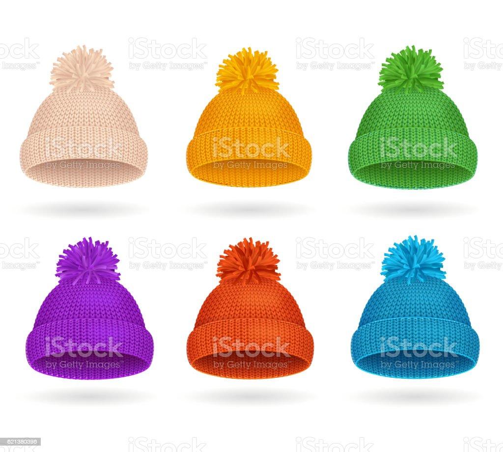 Knitted Color Hat Winter Set. Vector vector art illustration