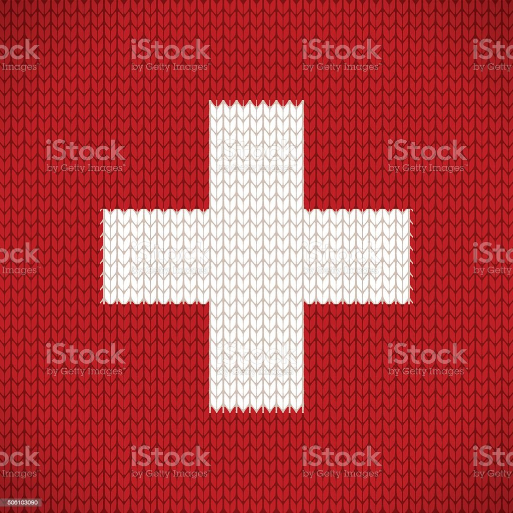 Knitted flag of the Switzerland icon - vector illustration vector art illustration