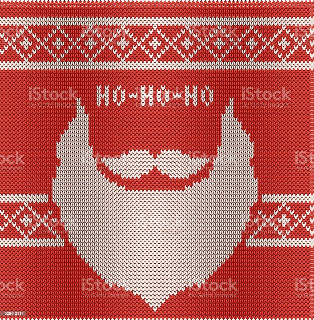 Knitted Hipster Santa Ho-ho-ho, moustache and beard vector art illustration