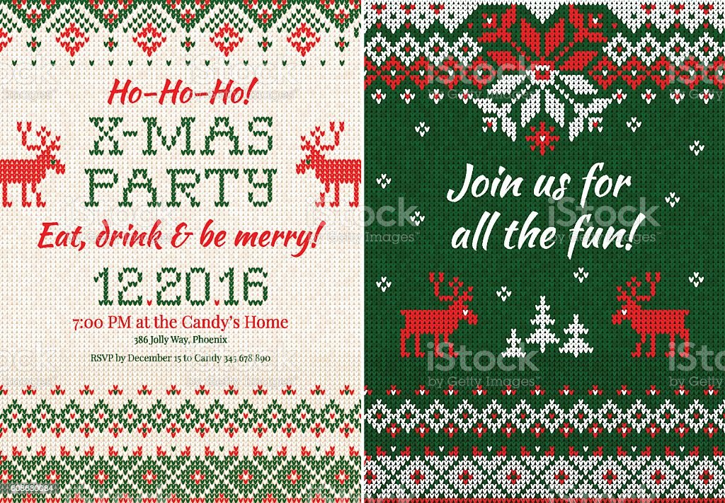 Knitted Invitation to the Christmas X-mas party. Front and back vector art illustration