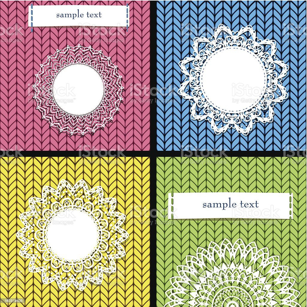 Knitted lace frame on canvas royalty-free stock vector art