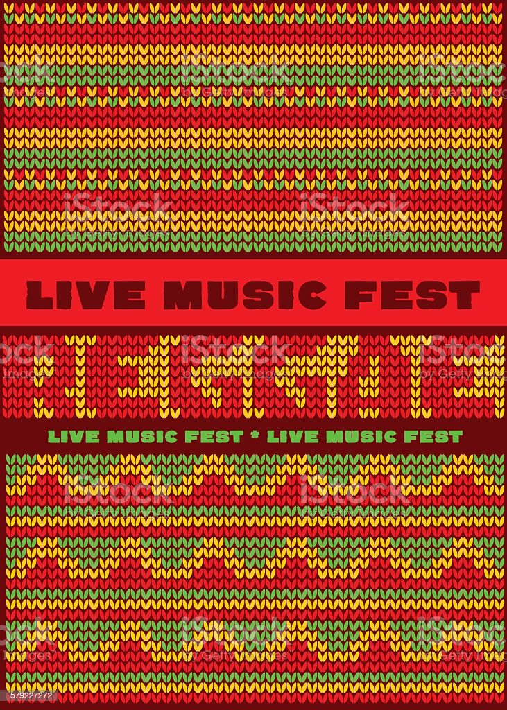 knitted pattern reggae color music background. vector art illustration