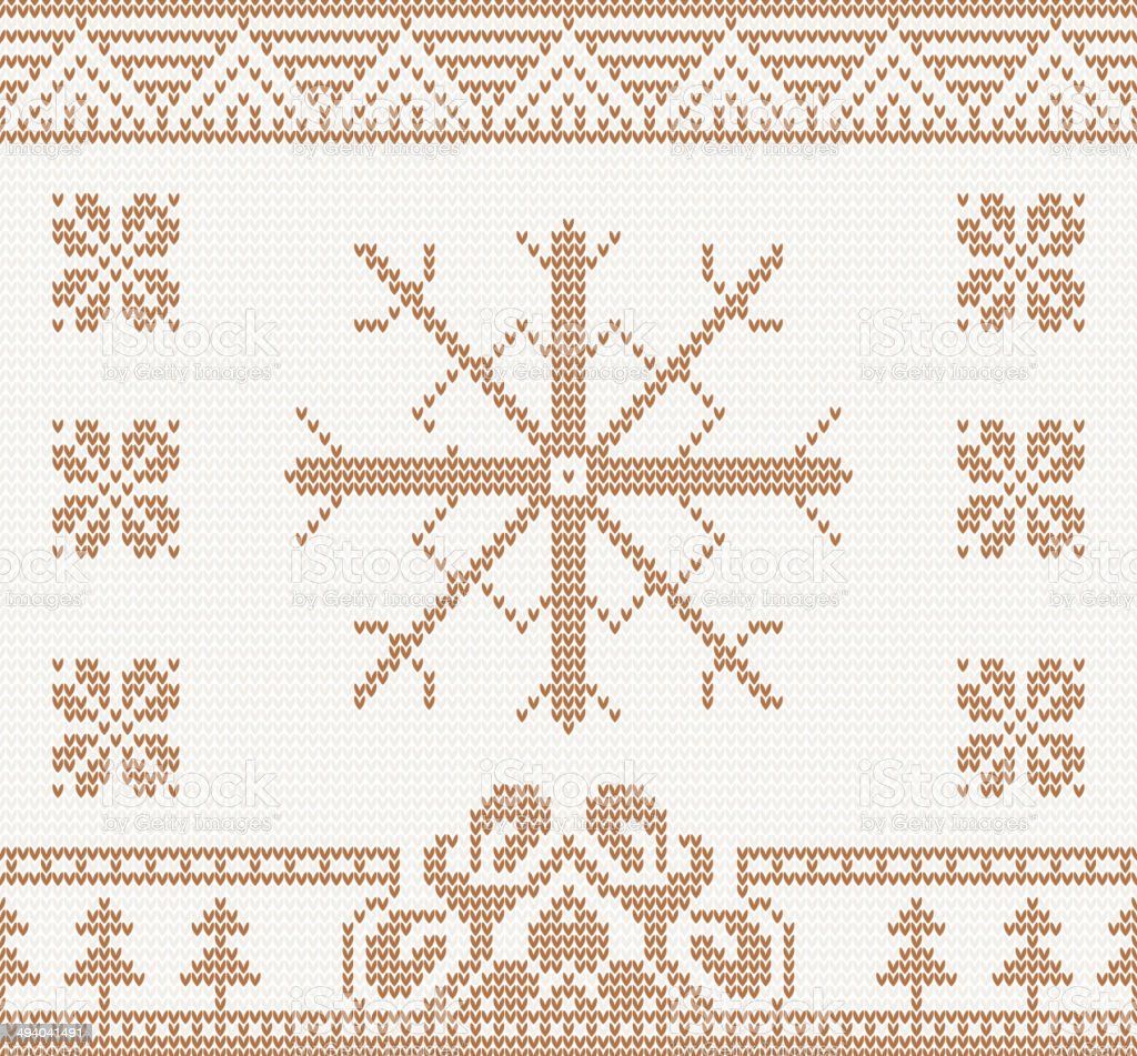 knitted pattern with snowflake royalty-free stock vector art