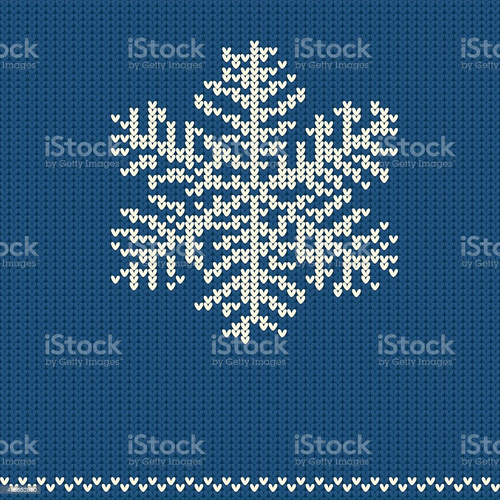 Knitted pattern with snowflake vector art illustration