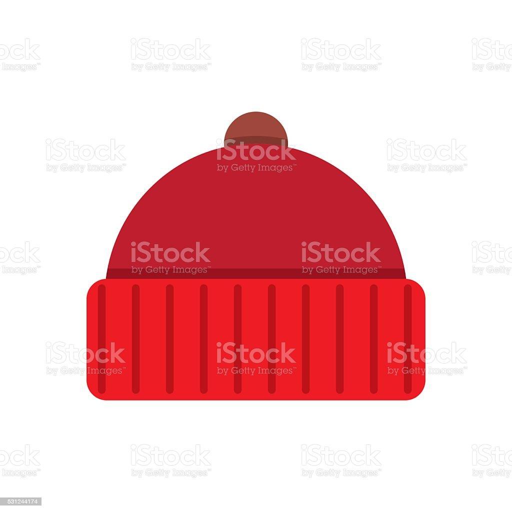 Knitted red cap vector art illustration
