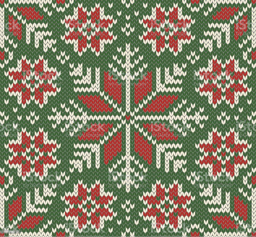 Knitted Seamless Christmas pattern vector art illustration