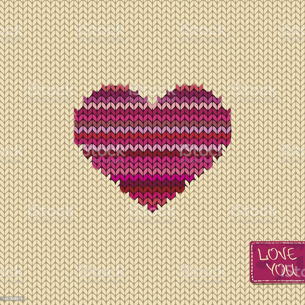 Knitted seamless pattern or card with heart vector art illustration