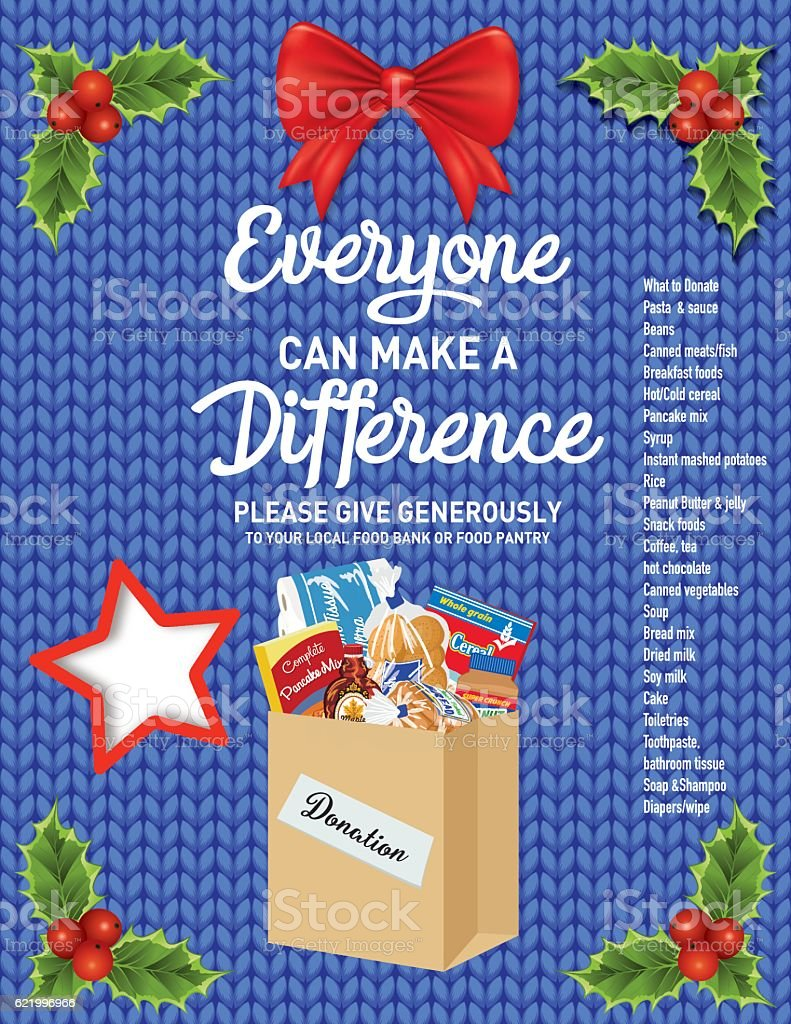 Knitted Sweater Food Bank Donation Collection Poster vector art illustration