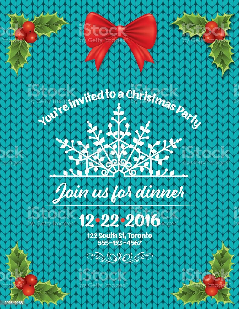 Knitted Sweater Holiday Dinner Party Invitation Template vector art illustration