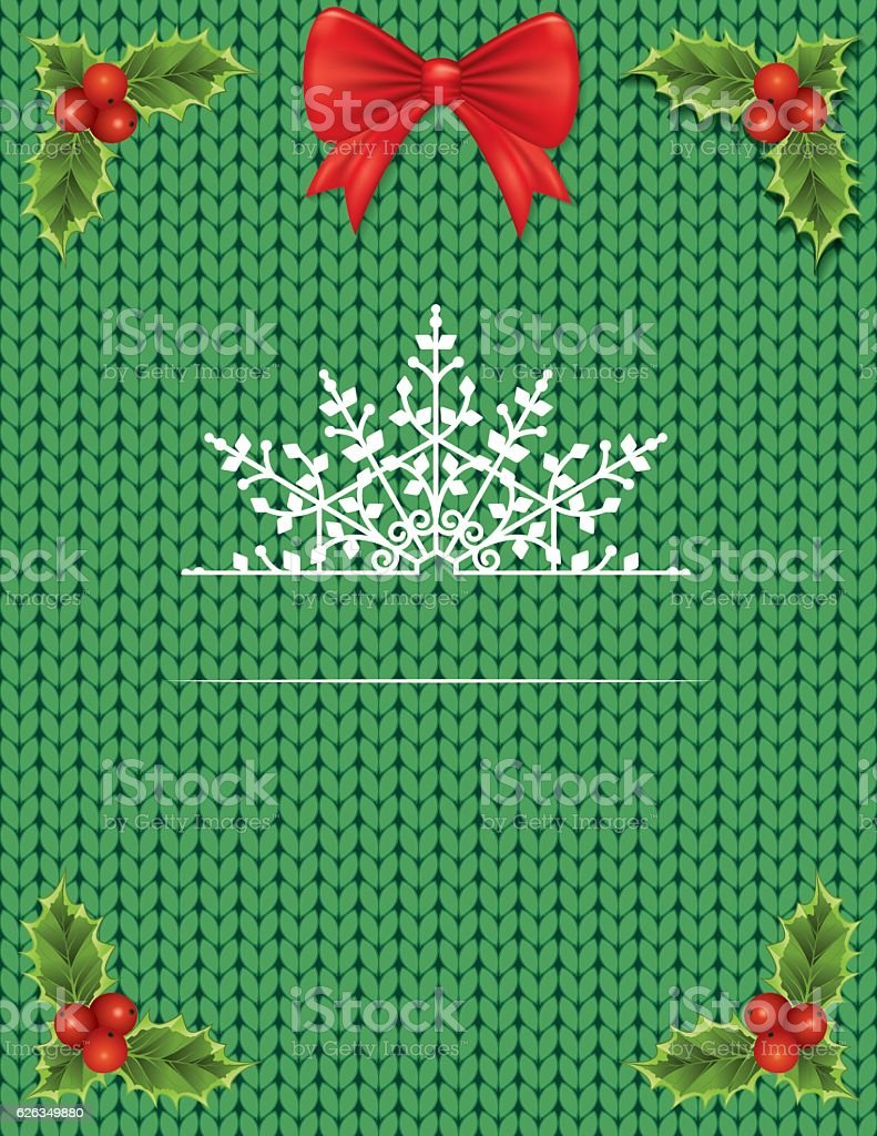Knitted Sweater With Holiday Decorations And Room For Text vector art illustration
