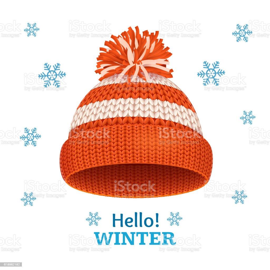 Knitted Woolen Red Hat for Winter Season Card. Vector vector art illustration